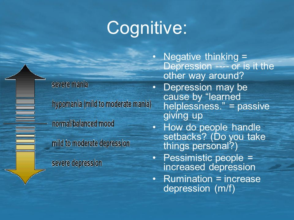 Cognitive: Negative thinking = Depression ---- or is it the other way around Depression may be cause by learned helplessness. = passive giving up.