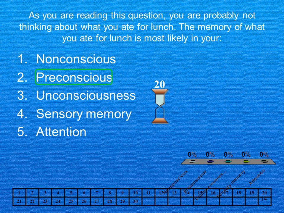 Nonconscious Preconscious Unconsciousness Sensory memory Attention 20