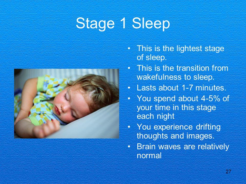 Stage 1 Sleep This is the lightest stage of sleep.