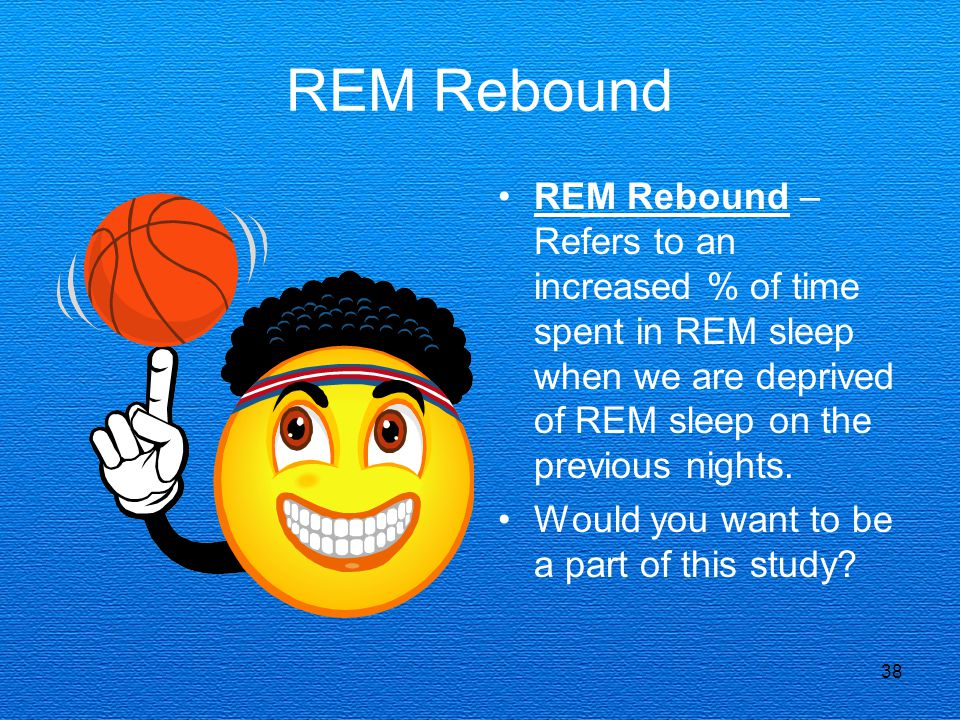 REM Rebound REM Rebound – Refers to an increased % of time spent in REM sleep when we are deprived of REM sleep on the previous nights.