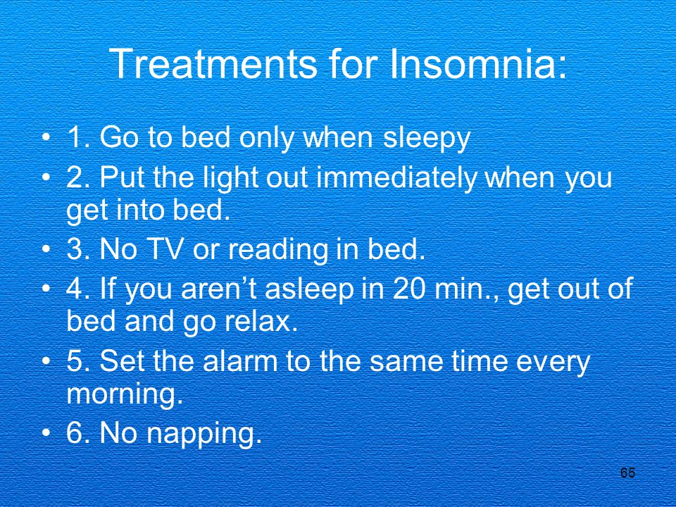 Treatments for Insomnia: