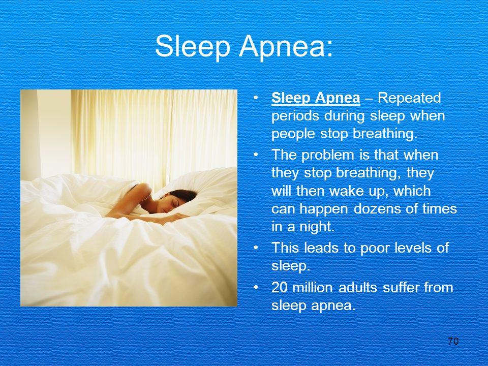 Sleep Apnea: Sleep Apnea – Repeated periods during sleep when people stop breathing.