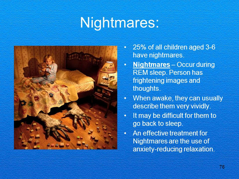 Nightmares: 25% of all children aged 3-6 have nightmares.