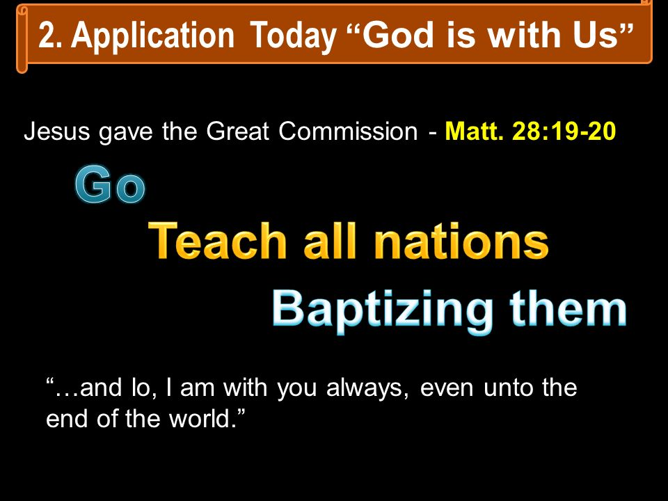 2. Application Today God is with Us