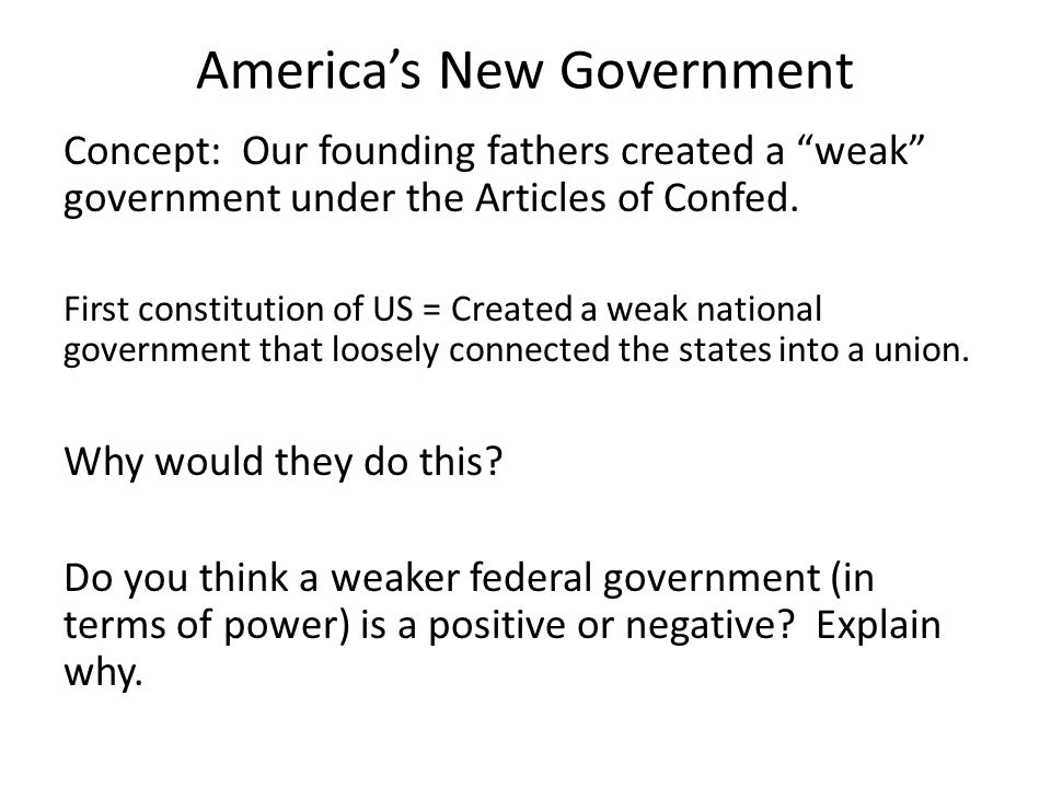 America's New Government