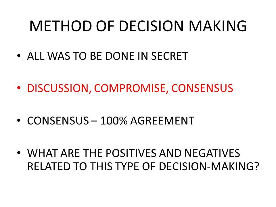 METHOD OF DECISION MAKING