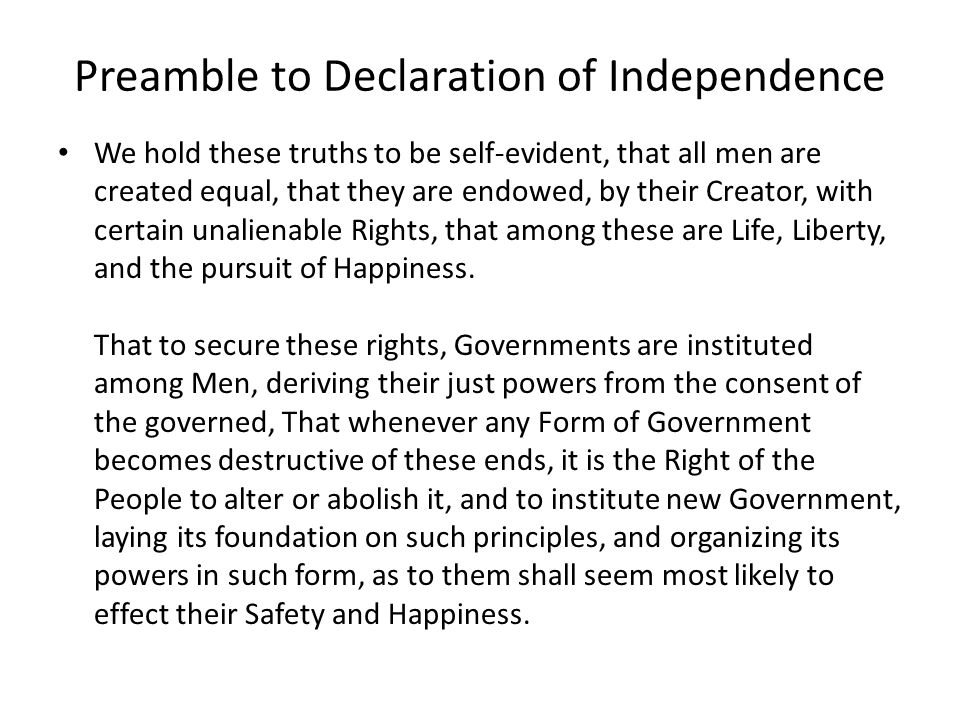 Preamble to Declaration of Independence