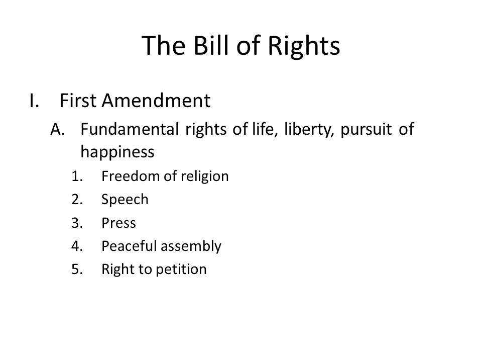The Bill of Rights First Amendment