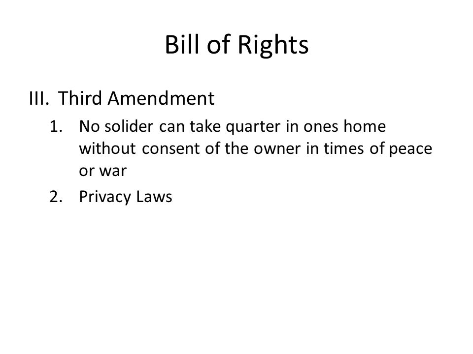 Bill of Rights Third Amendment