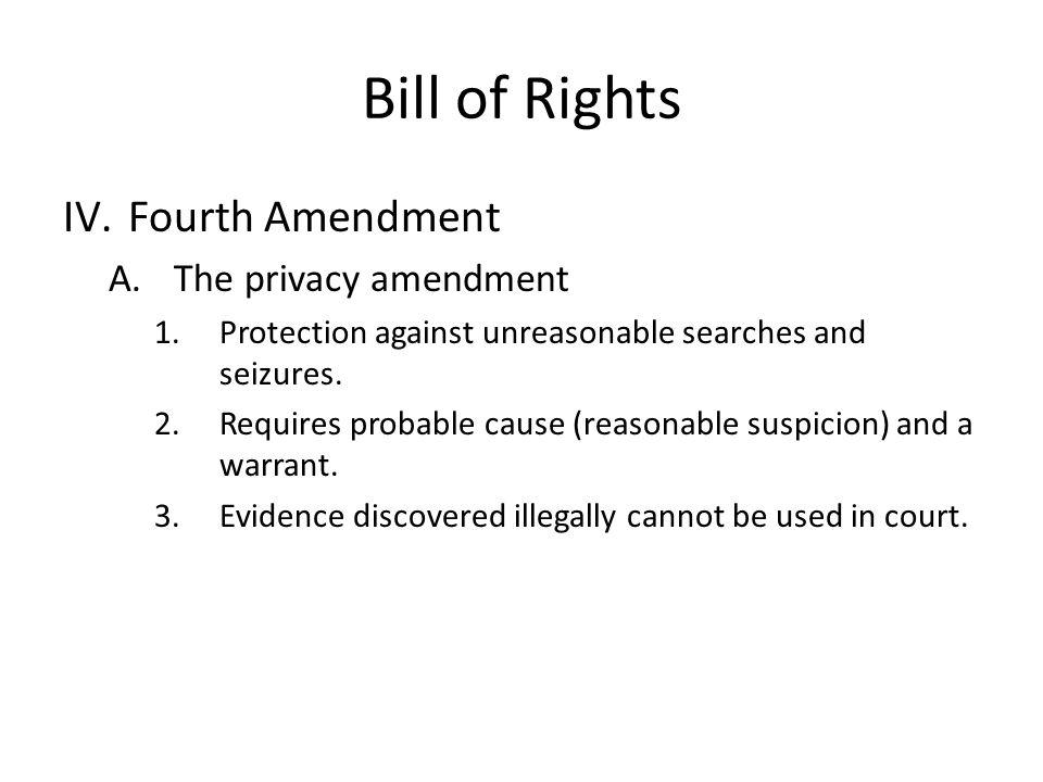 Bill of Rights Fourth Amendment The privacy amendment