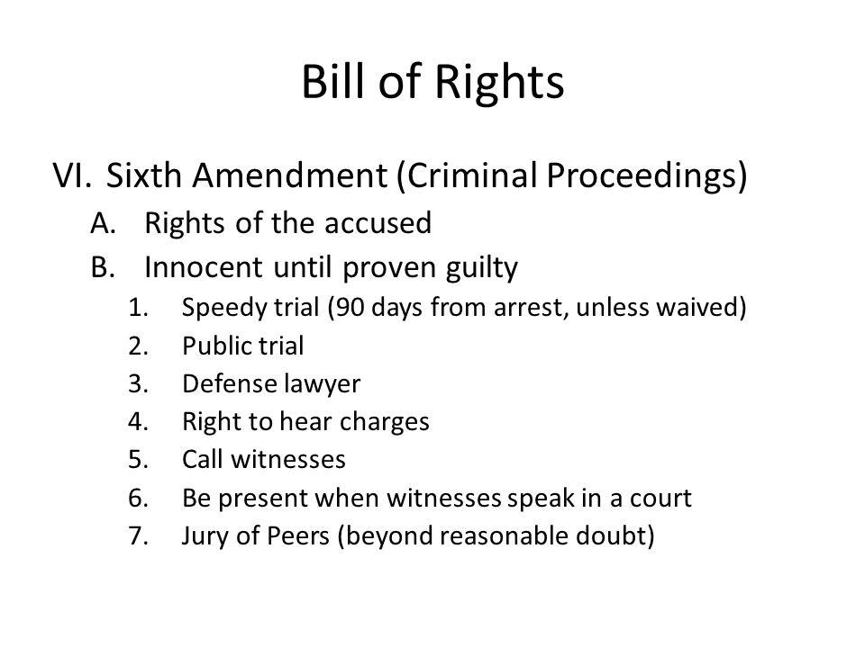 Bill of Rights Sixth Amendment (Criminal Proceedings)