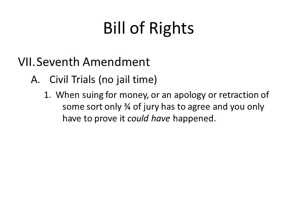 Bill of Rights Seventh Amendment Civil Trials (no jail time)