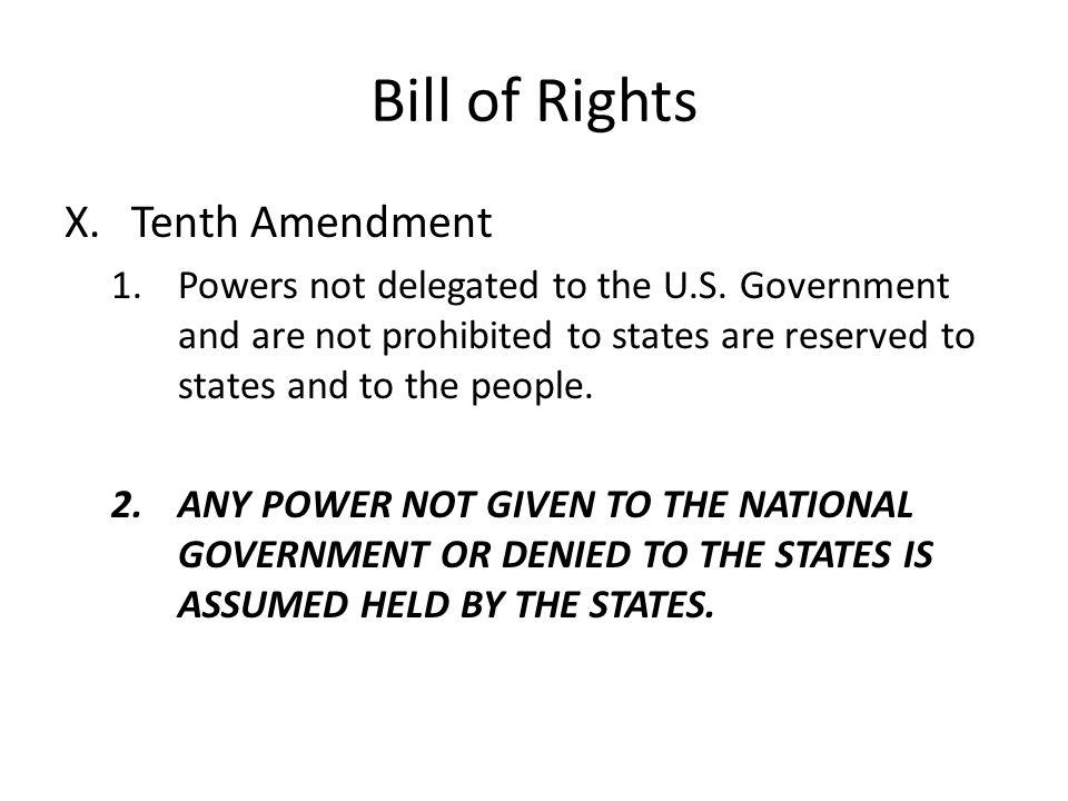 Bill of Rights Tenth Amendment