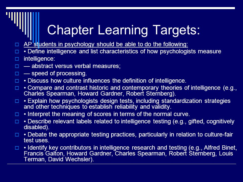 Chapter Learning Targets: