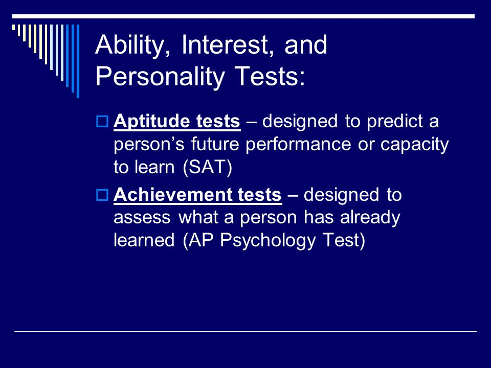 Ability, Interest, and Personality Tests: