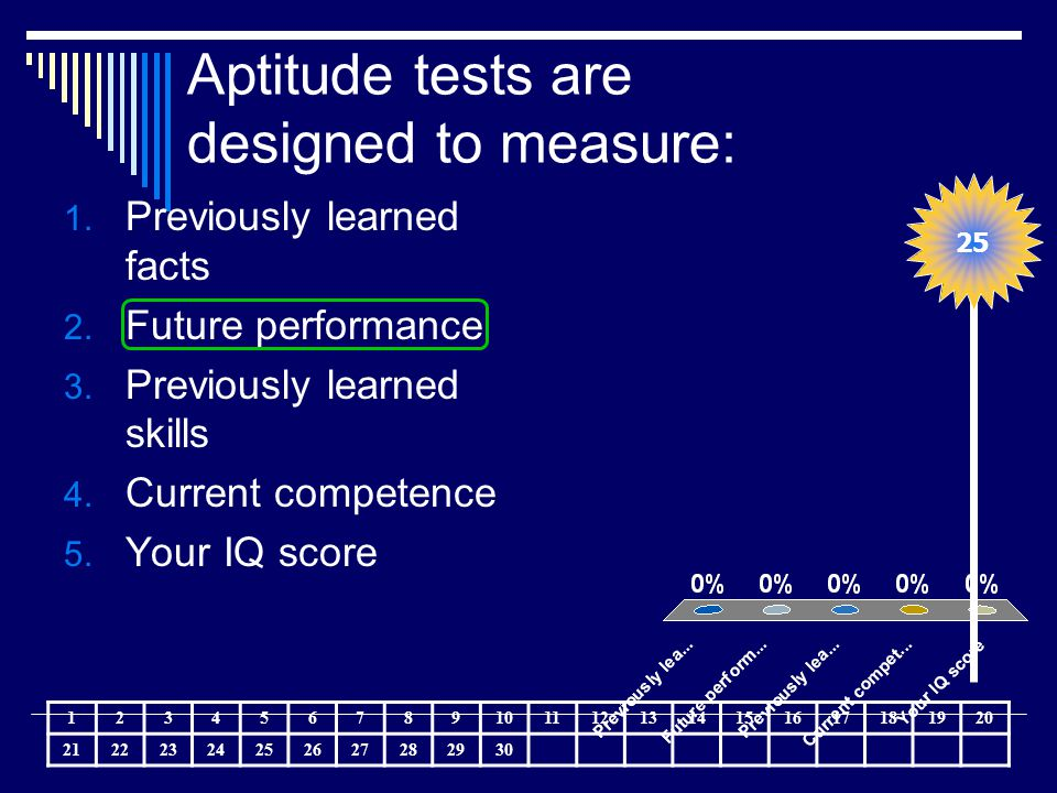 Aptitude tests are designed to measure: