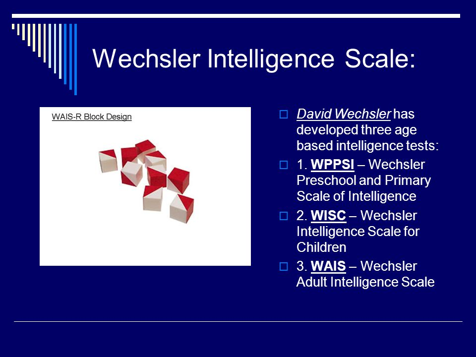 adult scale Weschler intelligence