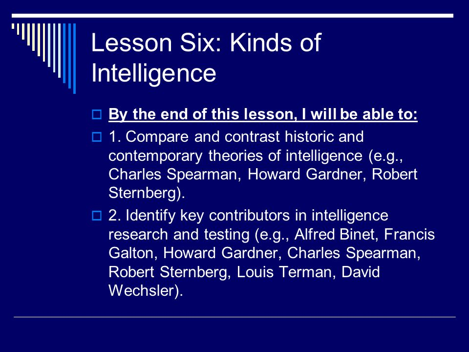 Lesson Six: Kinds of Intelligence