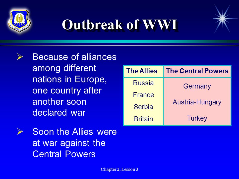 Outbreak of WWI Because of alliances among different nations in Europe, one country after another soon declared war.