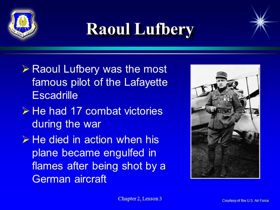 Raoul Lufbery Raoul Lufbery was the most famous pilot of the Lafayette Escadrille. He had 17 combat victories during the war.