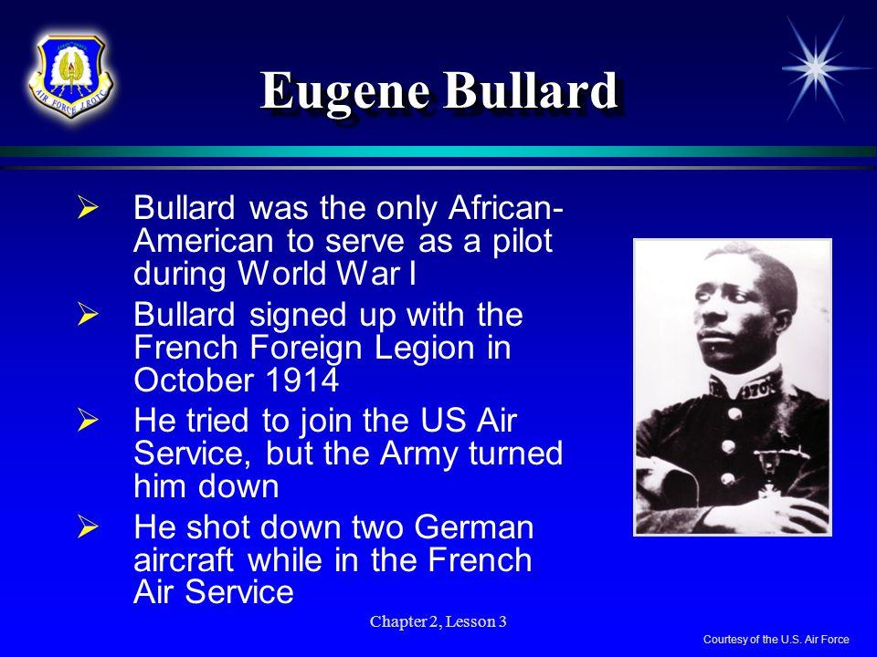 Eugene Bullard Bullard was the only African-American to serve as a pilot during World War I.