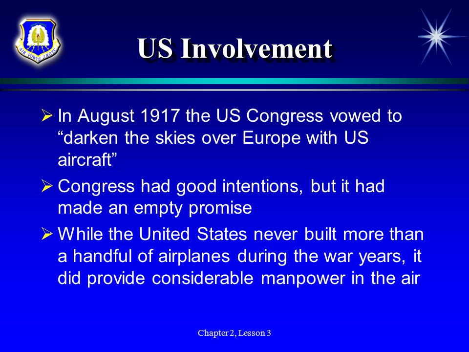 US Involvement In August 1917 the US Congress vowed to darken the skies over Europe with US aircraft