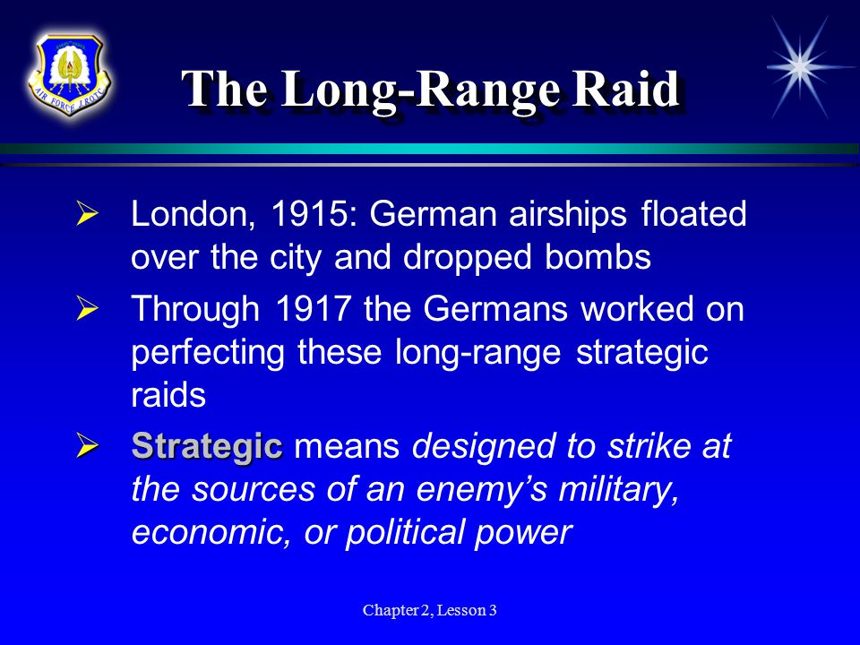 The Long-Range Raid London, 1915: German airships floated over the city and dropped bombs.