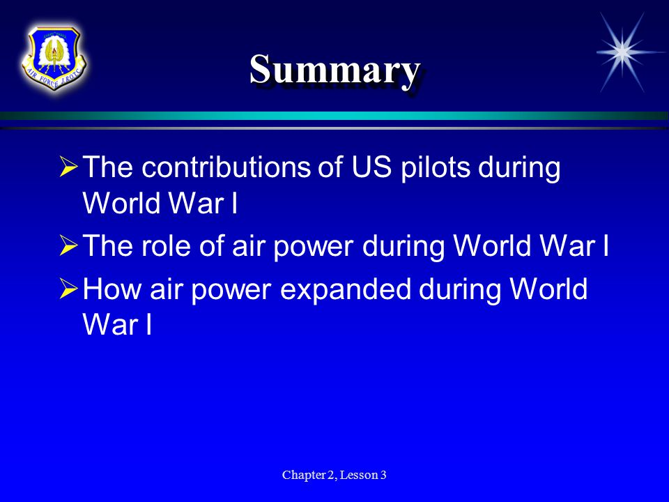 Summary The contributions of US pilots during World War I