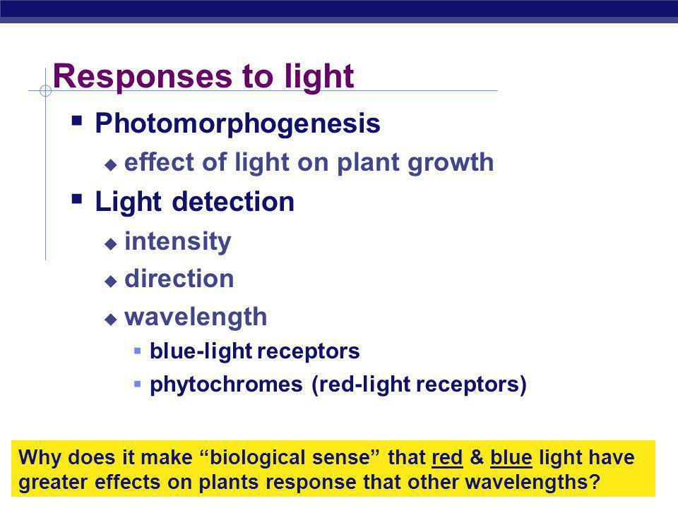 Responses to light Photomorphogenesis Light detection