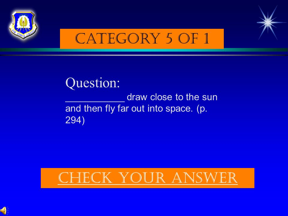 Category 5 of 1 Question: Check Your answer