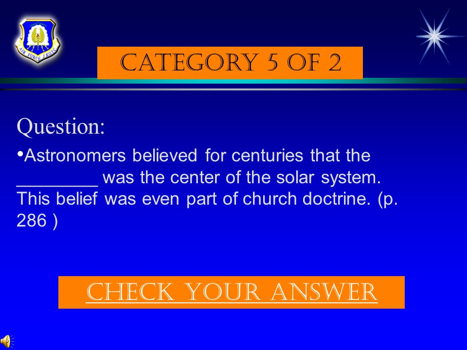 Category 5 of 2 Question: Check Your answer