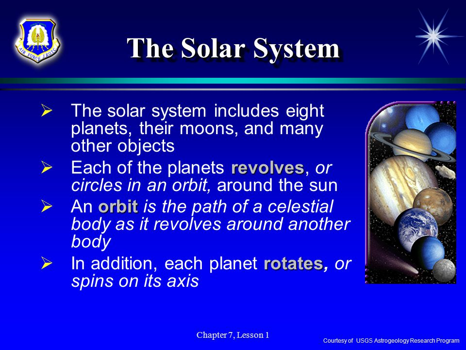 The Solar System The solar system includes eight planets, their moons, and many other objects.