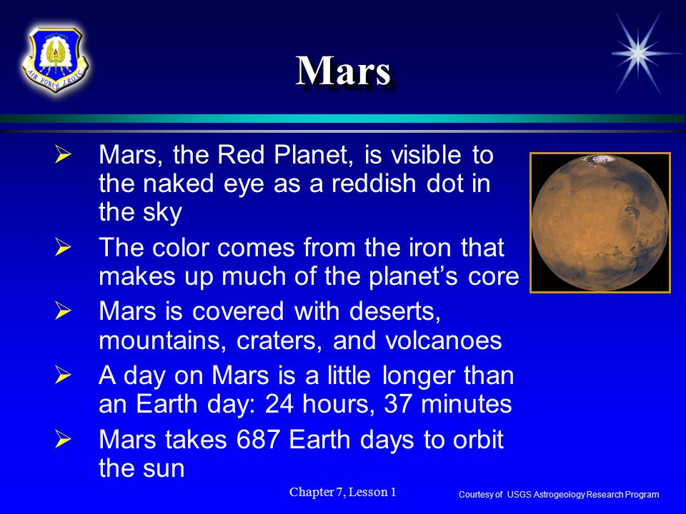 Mars Mars, the Red Planet, is visible to the naked eye as a reddish dot in the sky.