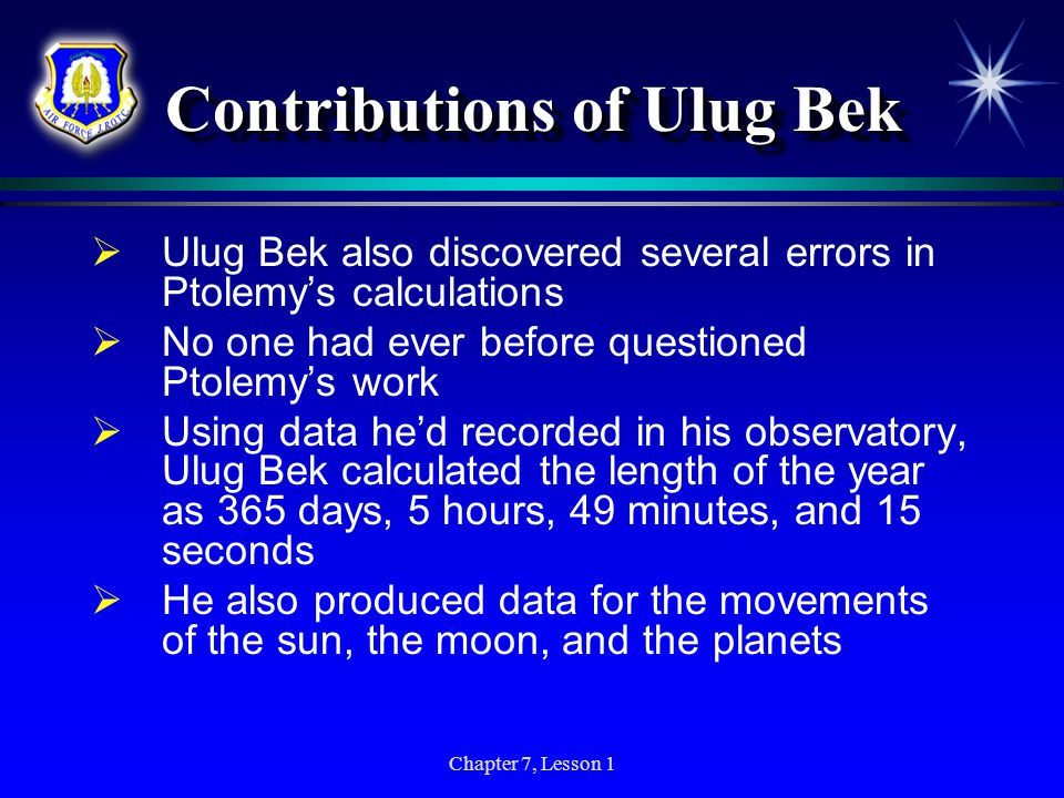 Contributions of Ulug Bek