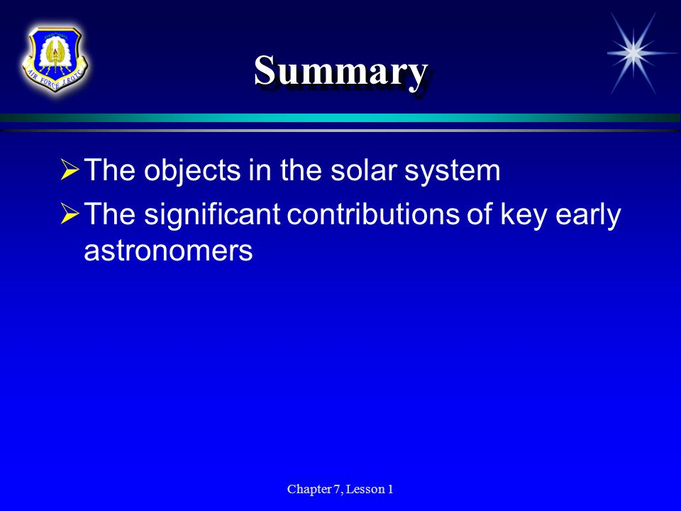 Summary The objects in the solar system