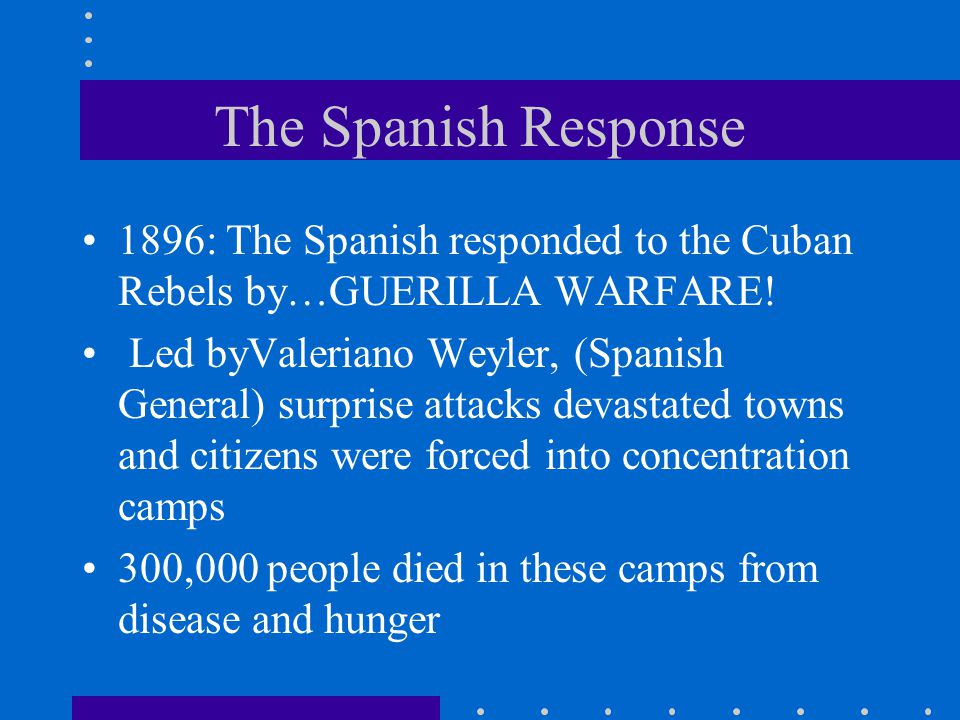 The Spanish Response 1896: The Spanish responded to the Cuban Rebels by…GUERILLA WARFARE!