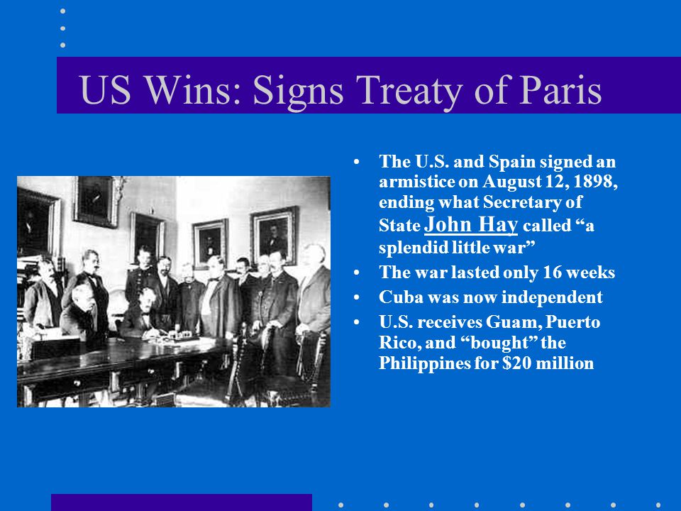 US Wins: Signs Treaty of Paris