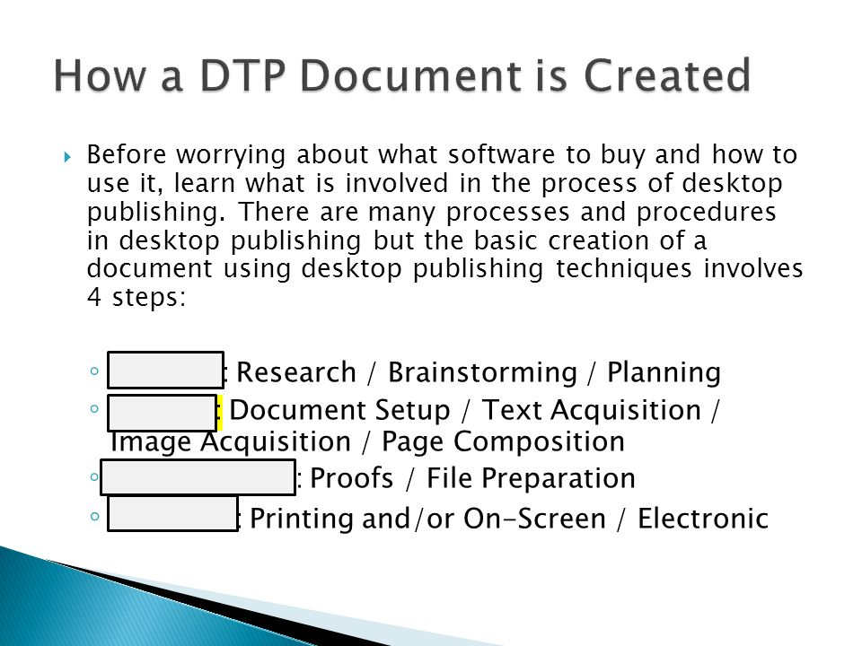 How a DTP Document is Created
