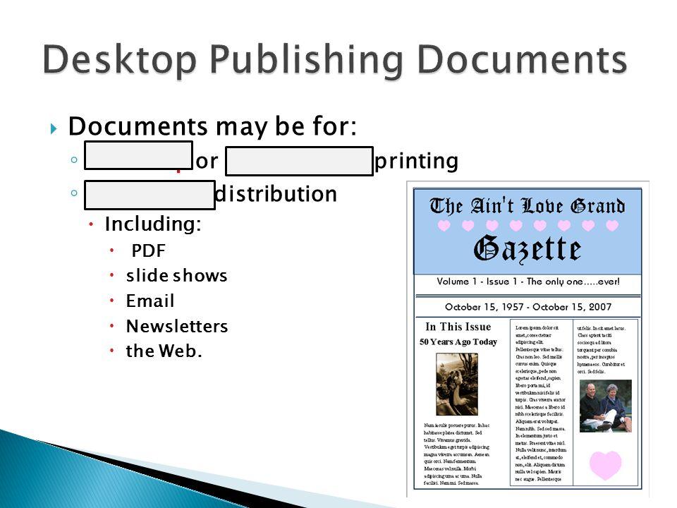 Desktop Publishing Documents
