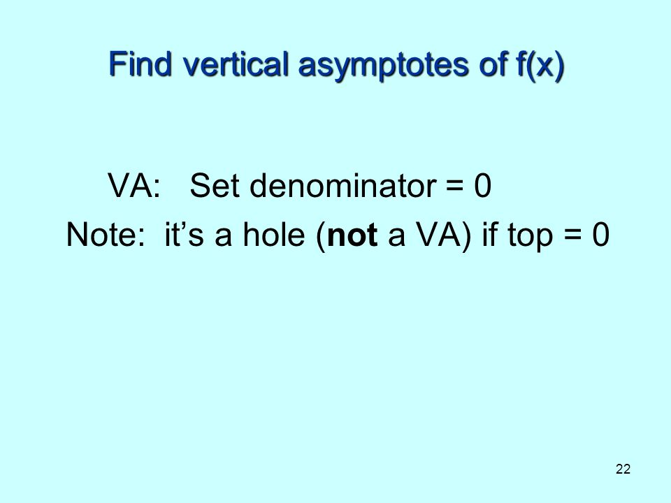 Find vertical asymptotes of f(x)