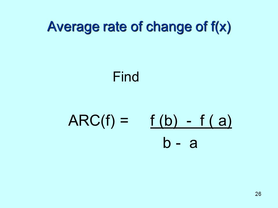 Average rate of change of f(x)