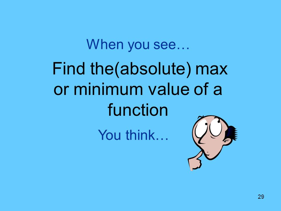 Find the(absolute) max or minimum value of a function