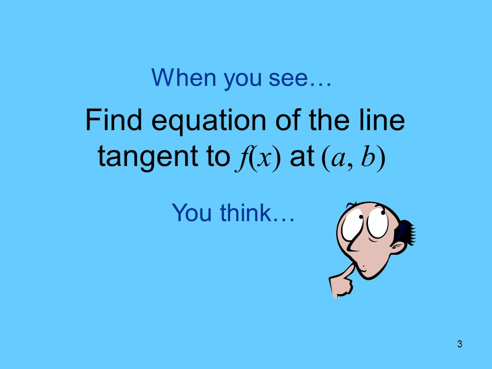Find equation of the line tangent to f(x) at (a, b)