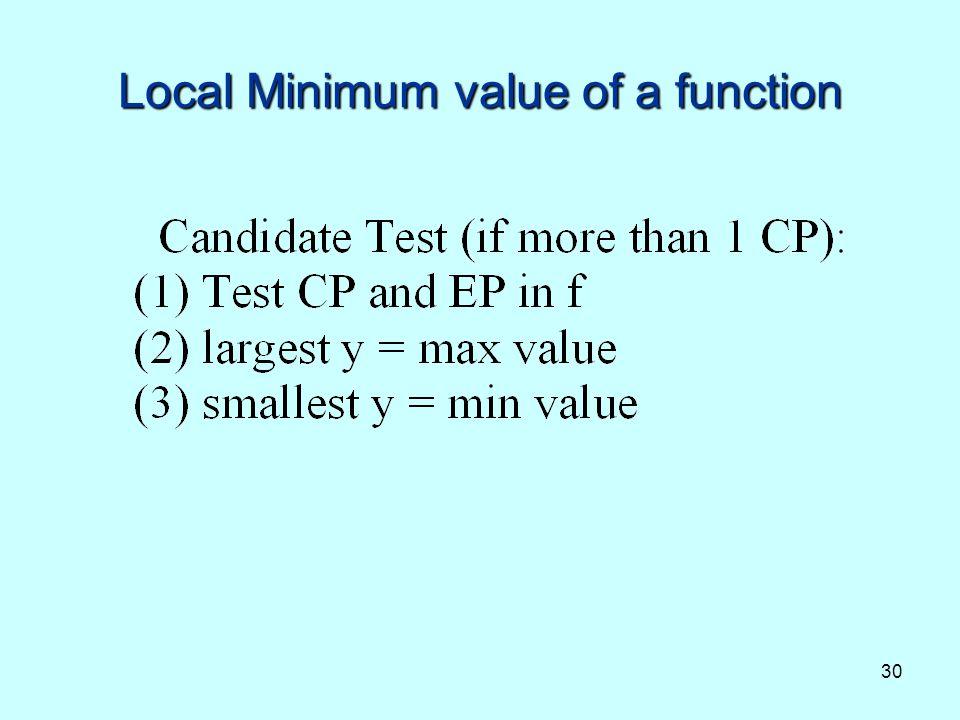 Local Minimum value of a function