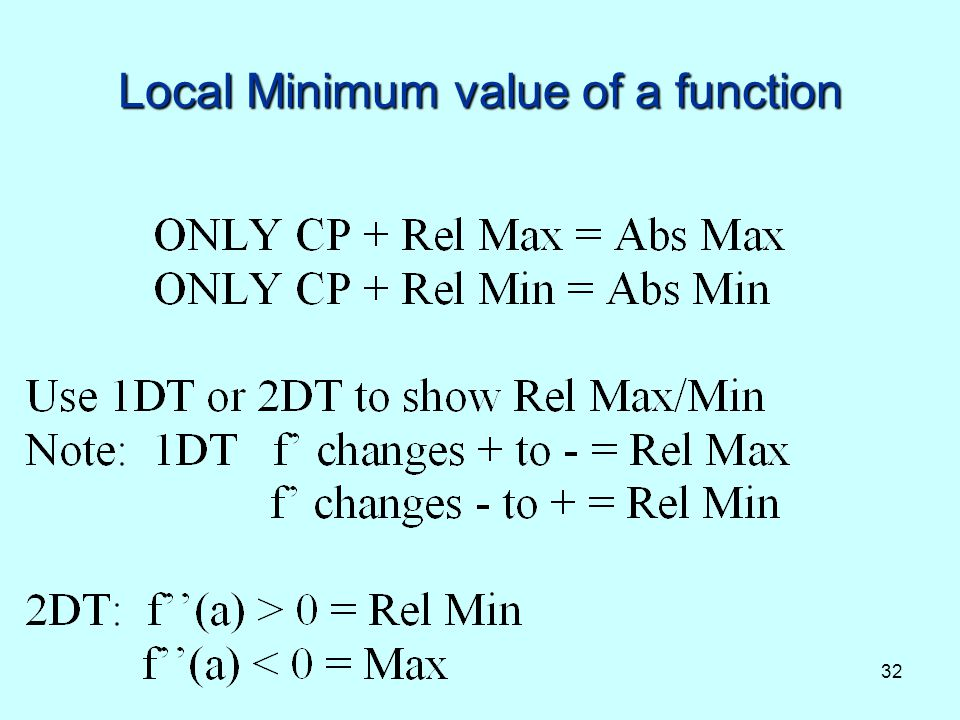 Local Minimum value of a function