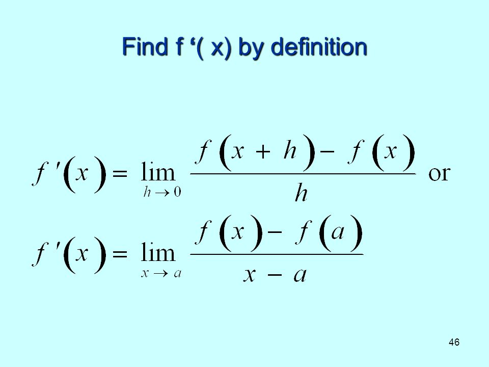 Find f '( x) by definition