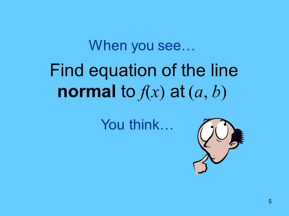 Find equation of the line normal to f(x) at (a, b)