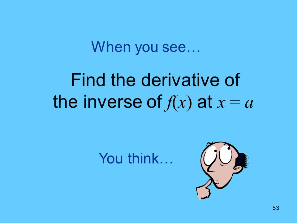 Find the derivative of the inverse of f(x) at x = a