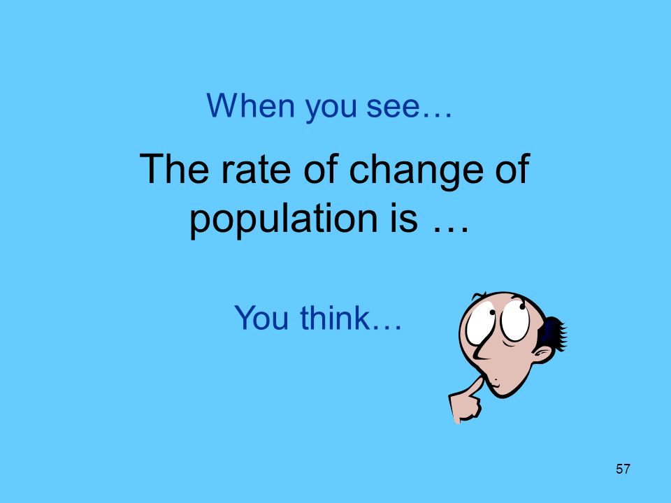 The rate of change of population is …