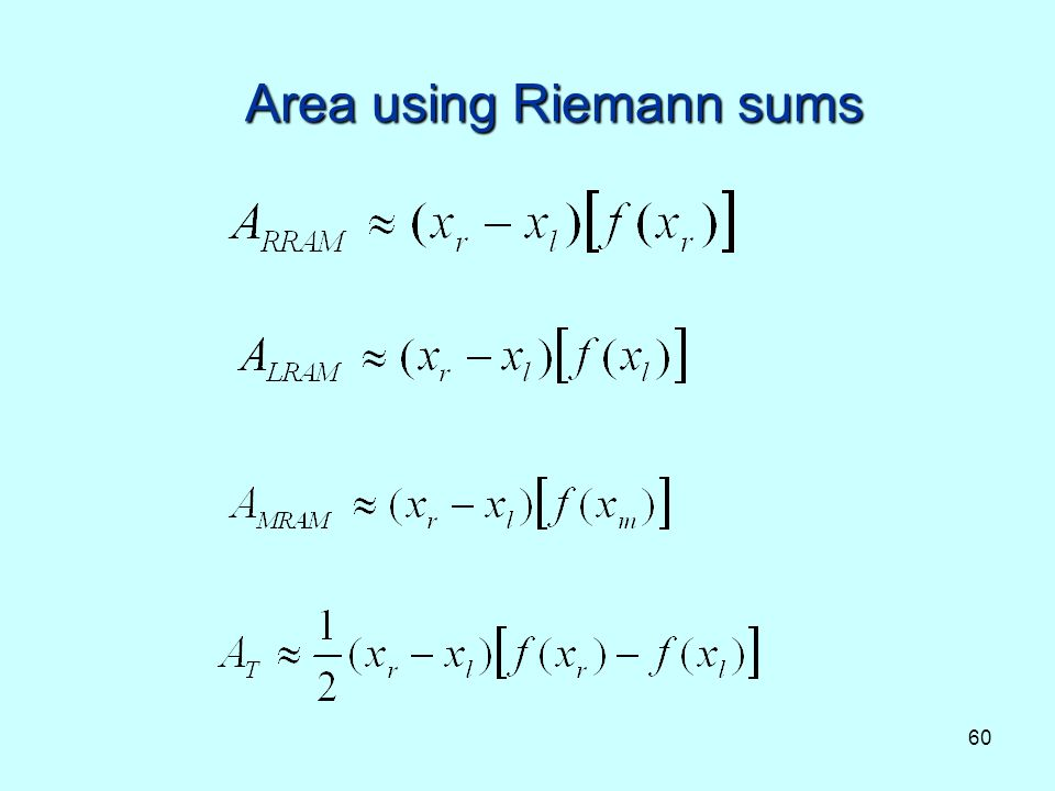 Area using Riemann sums